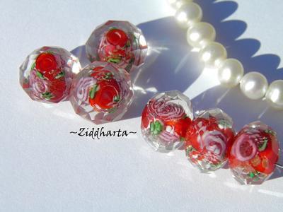Exklusiv Handgjord LampWork glaspärla: Facetterad Rondell Rosor & guldsand - Röd /Red #03