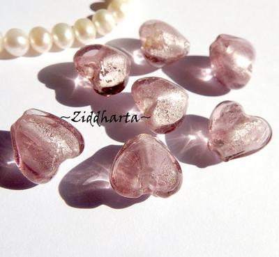 1st Hjärta ca 12mm - SF SilverFoil Amethyst LW - Handmade HEART Lampwork Beads