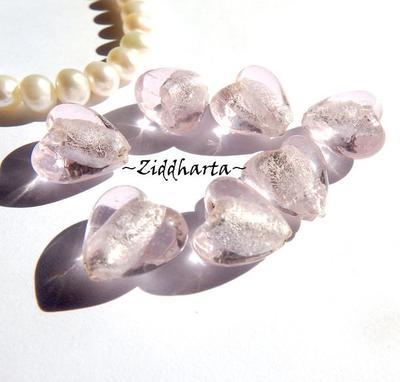 1st Hjärta ca 12mm - SF PINK SilverFoil LW - Handmade HEART Lampwork Beads