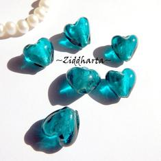 1st Hjärta ca 12mm - SF Enfärgad TEAL SilverFoil LW - Handmade HEART Lampwork Beads