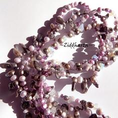 L3:90 Opalite VIOLET Mulit-strand - OOAK Gemstone Freshwater pearls 3-strands Necklace - Handmade Jewelry made in Sweden
