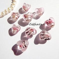 1-3-5st Hjärta ca 12mm - PINK Randat - Handmade HEART Lampwork Beads Handblåsta Glaspärlor