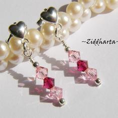 1 par Hjärte Örhängen Swarovski Crystals: Ruby & Lt Rose