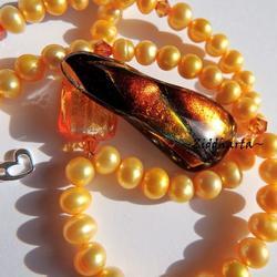 150 Dichroic Cabochon ca40x15mm: CopperSwirl