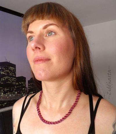 """L1:29 Spiral Rope Necklace """"Pink Orchid"""" Necklace Miyuki Seed Beads Necklace - Handmade beaded necklaces and beadings and beads by Ziddharta"""