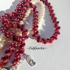 "L1:29 Spiral Rope Necklace ""Pink Orchid"" Necklace Miyuki Seed Beads Necklace - Handmade beaded necklaces and beadings and beads by Ziddharta"