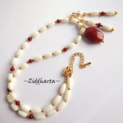 "L1:30 SET Necklace Earrings OOAK ""Red CadyJade"" Necklace White Coral Beads Necklace Red Gems Necklace - Handmade Jewelry and Beadings by Ziddharta"