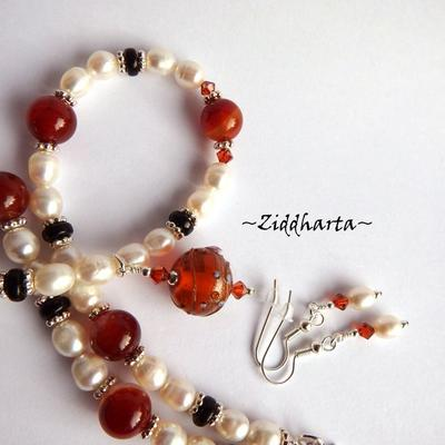 "L1:31nn Set Necklace Earrings LampWork Necklace ""Red Magma"" Necklace White Freshwater Pearls & Swarovski Necklace - Handmade Jewelry by Ziddharta"