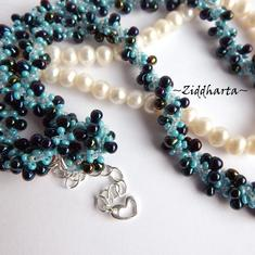 "L1:32 Turquoise Dk Indigo Necklace ""Indigo Swirl"" Necklace DNA-spiral Necklace Miyuki Seed Beads Necklaces - Handmade Jewelry by Ziddharta"