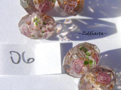 Exklusiv Handgjord LampWork glaspärla: Facetterad Rondell Rosor & guldsand - Light Amethyst #06
