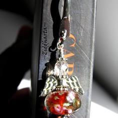 1 Bokmärke: Rött  Ängla-hänge med guldsand - Handmade by Ziddharta