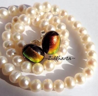 122 Dichroic Earrings ca11x9mm: Earring GoldYellow to GoldenLime