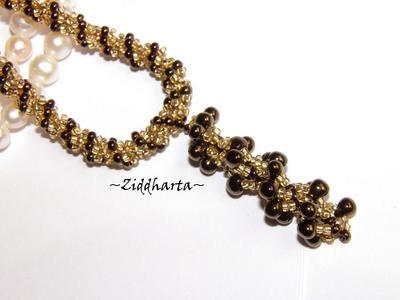 L2:42 SÅLD! BronzeGolden Necklace /Halsband Spiral Rope w beaded Bronze Spiral Pendant Miyuki Seed Beads Fringe - Handmade beaded Jewelry and Beading by Ziddharta