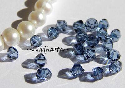 Swarovski Bicone 4mm Crystals - Denim Blue - 8st