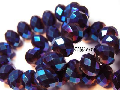 Lyx kristall - Kristall-pärla - Blå Metallic 10x8mm Rondell