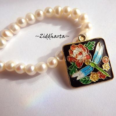 1 Cloisonné pärla: Jet Black, Svart berlock Fjäril / Butterfly #42