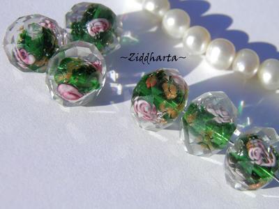 Exklusiv Handgjord LampWork glaspärla: Facetterad Rondell Rosor & guldsand - EmeraldGreen #09