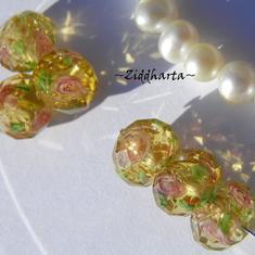Exklusiv Handgjord LampWork glaspärla: Facetterad Rondell Rosor & guldsand - AMBER Gold #11