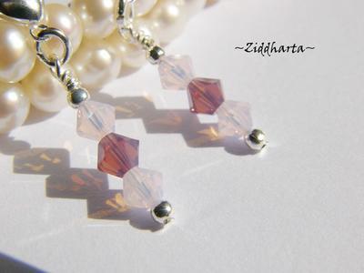 1 par Hjärte Örhängen Swarovski Crystals: CyclamenOpal RosewaterOpal