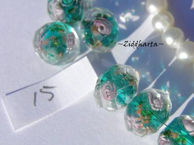 Exklusiv Handgjord LampWork glaspärla: Facetterad Rondell Rosor GS - TEAL #15