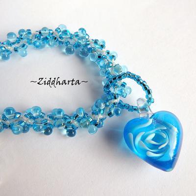 "L1:33 Two necklaces in One: Aqua Blue ""Sky Swirl Heart"" Necklace Miyuki & Jablonex beaded Swirl Necklace Sewn Seed Beads - Handmade Jewelry by Ziddharta"