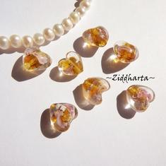 1-3-5st Hjärta ca 12mm - SF Dark Gold - Handmade HEART Lampwork Beads Handblåsta Glaspärlor