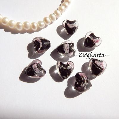 1-3-5st Hjärta ca 12mm - Svart JET Black - Handmade HEART Lampwork Beads Handblåsta Glaspärlor