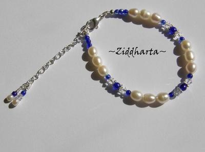 L2:47 OOAK Set COBOLT: Halsband, armband & örhängen - Swarovski, Vita Sötisar & Blått Lampwork-hänge