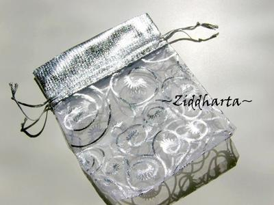 Smyckepåse: Organza & Silver  8,5x11,5cm
