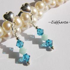 1 par Hjärte Örhängen Swarovski Crystals: Indicolite MintAlabaster