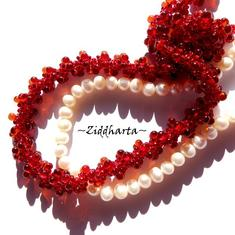 L5:148nn - Warm RED - Love Handsewn Helix DNA Spiral Beaded ROPE Necklace / Halsband: Japanese High Quality Miyuki Glass Drops & Seed Beads - RÖTT Röda - Handmade by Ziddis