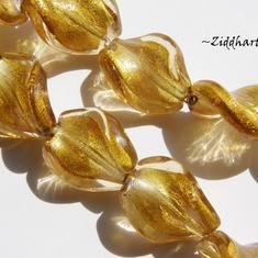 LampWork pärla: Swirl - SF Antique Gold - 5784