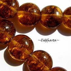 LampWork pärla Coin: Dk Honey GuldSand - 5779