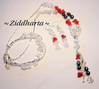 L2:56 Red  Love - Valentines Day - Alla Hjärtans dag SET: Halsband, armband, örhängen - by Ziddharta made in Sweden