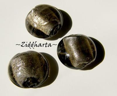 LampWork pärla Coin: SF ca15mm SmokyQuartz - 8372