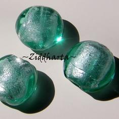 LampWork pärla Coin: SF Lindblomsgrönt - 8129