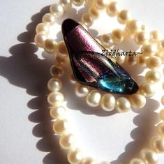 7 Dichroic Cabochon ca37x15mm: PurpleTeal Boomerang
