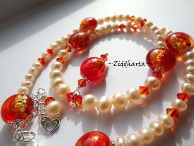 L1:06 Orangeskimrande & brinnande: Halloween LYXIGT Smycke /Halsband: FireOpal!