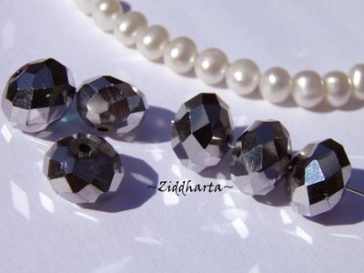 Facetterade glaspärlor: Lyx kristaller - Light Hematite 10x8mm Rondell