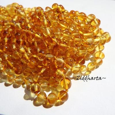 Rundad Semi-rund Bärnsten /Amber: 10st pärlor - Honung - Grade A - ca 6mm
