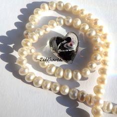 1 GÅVA per order: 1st LampWork SilverFoil Stripe: 17mm Hjärta BLACK