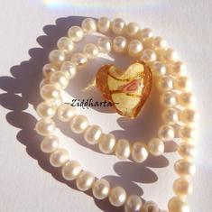 1 GÅVA per order: 1st LampWork GoldFoil Stripe: 17mm Hjärta GOLD