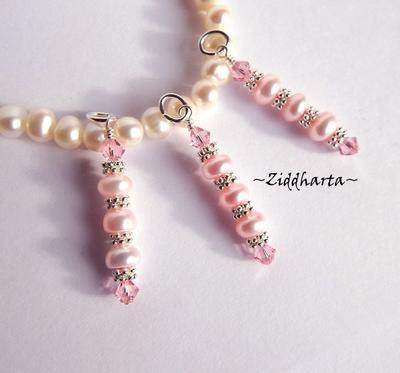 1 Sötvattenshänge med Swarovski-kristaller: Rose Pink Stav