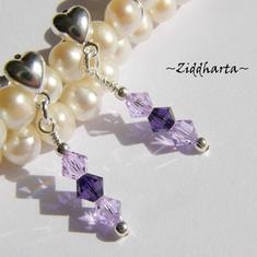 1 par Hjärte Örhängen Swarovski Crystals: PurpleVelvet Violet