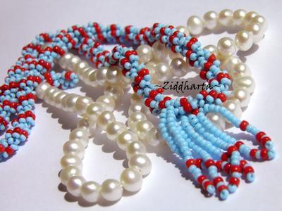 SÅLD! L2:51 Indian Red Turquoise Fringes - DNA-spiral Helix Pärlat smyckes rep med frans Rött & turkost