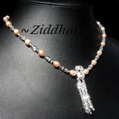 L3:91 SET Apricot Silver TASSELS OOAK: Halsband, armband & örhängen - Aprikos brudset - brud bröllop Wedding bride bridal
