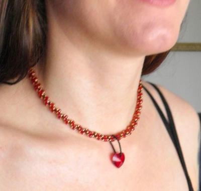 "L1:22 Love Red & Gold Necklace ""Brynäs"" Sewn Spiral Rope Necklace Love Red DNA-spiral Necklace Red Necklace - Handmade Jewelry by Ziddharta"