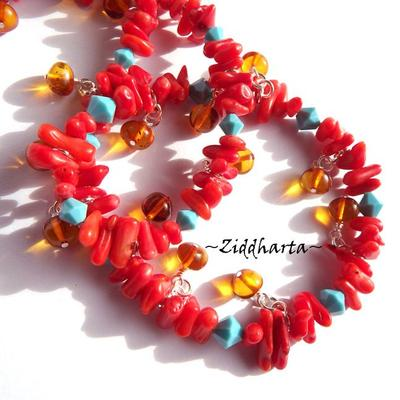 OOAK Unique Amber RAV Bernstein Red Coral Necklace Swarovski Crystals Turquoise Necklace- Handmade by Jewelry artist Ziddharta of Sweden
