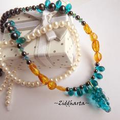 RARE Amber TEAL #1 Necklace Glass GRAPES Swarovski Rav Bernstein Bärnstens Necklace Gem Amber Hematite Necklace - Handmade by Ziddharta