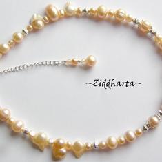 L3:92 SILVER Peach: Bride Peach Apricot Necklace / Halsband - Brud, bröllop, student, wedding, bride, bridal